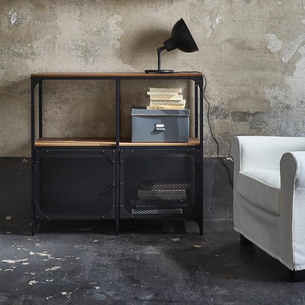 Industrial-style metal shelving