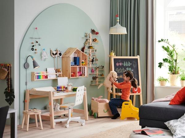 Inspiración para una zona de estudio infantil.
