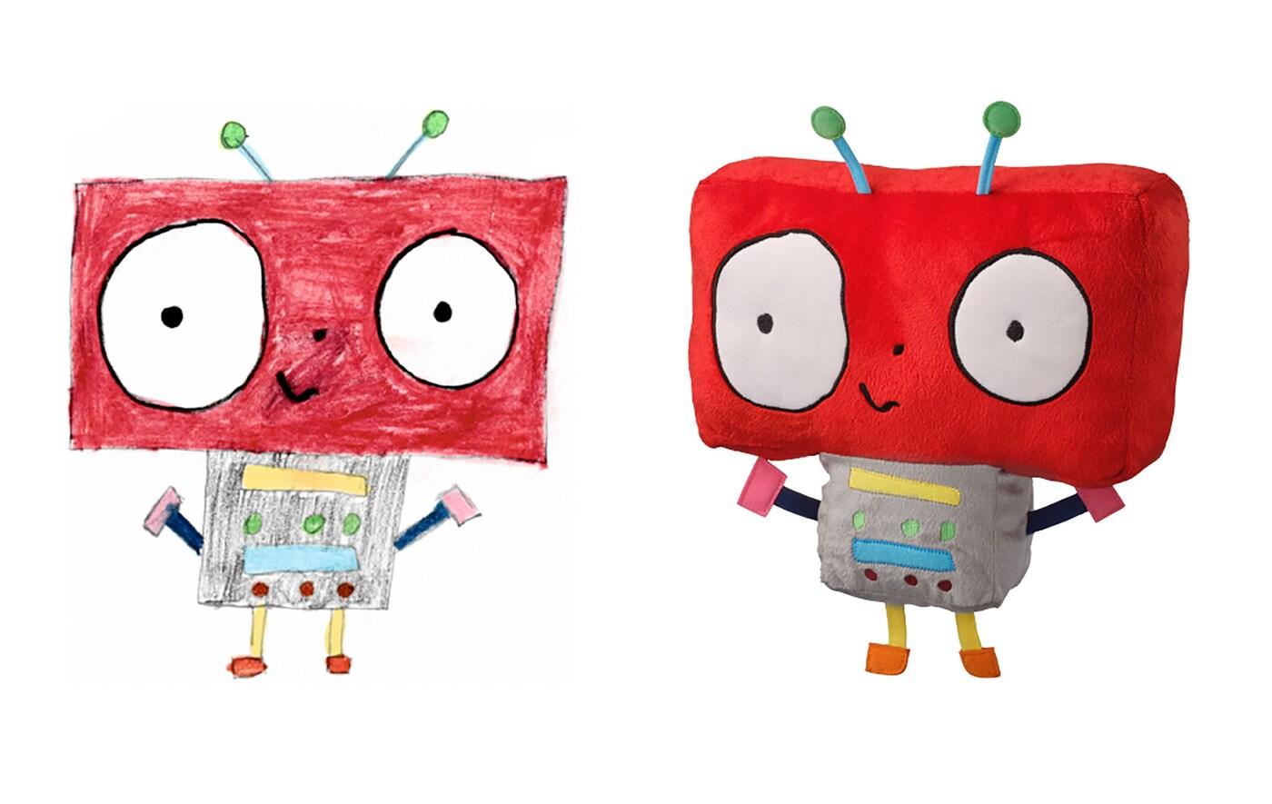 Irudizko robot baten marrazkia, eta marrazki horretako robota oinarri hartuta egindako peluxearen argazkia alboan.