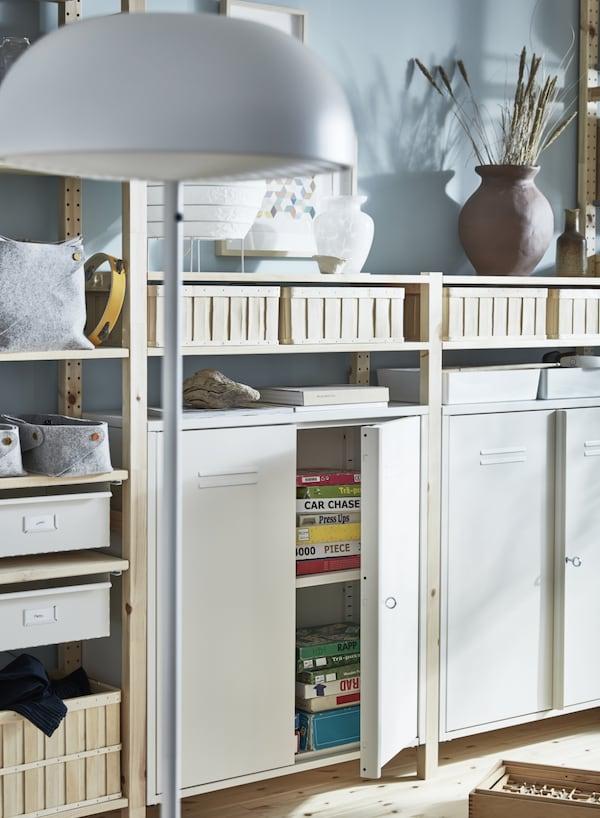 IVAR 4 secciones/baldas/armario, pino, blanco, 344x30x226 cm