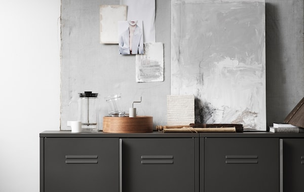 IVAR cabinets with doors. Industrial and functional. These steel cabinets offer generous storage to any room, creating a contrast to the natural wooden surfaces in the other parts of the IVAR series.