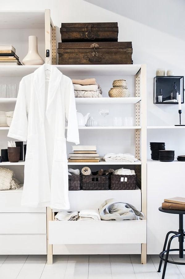 IVAR shelving unit — wardrobe — bedroom — IKEA interior inspiration