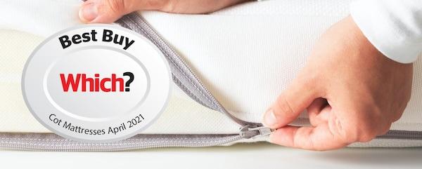 JÄTTETRÖTT cot mattress with Which? Best Buy logo on it.