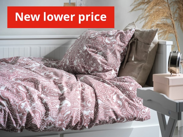 JATTEVALLMO duvet cover and pillow case rumpled on bed