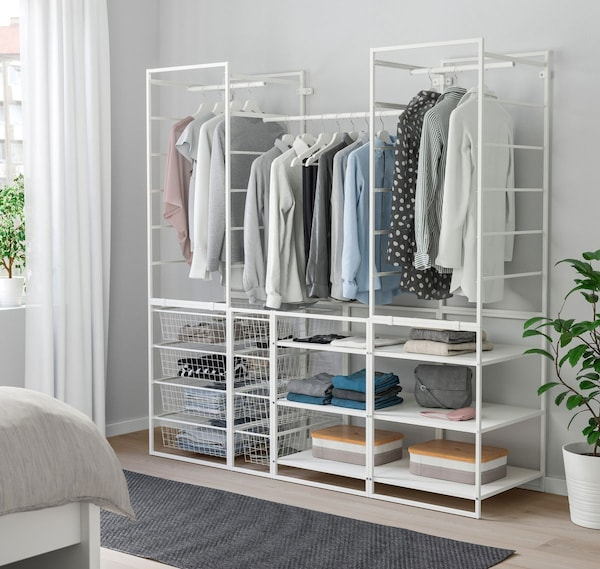 "JONAXEL Frame with baskets, clothes rail, and shelf units 68 1/8x20 1/8x68 1/8 "" (173x51x173 cm)"