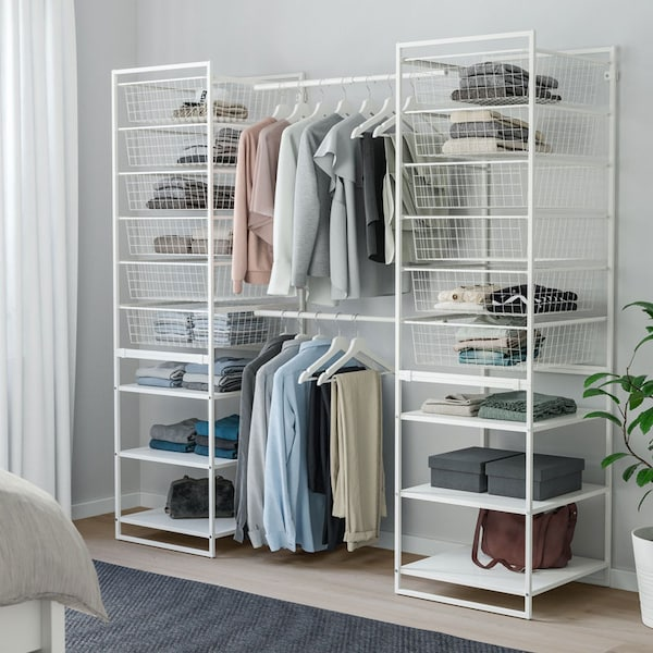 JONAXEL storage combination with wire baskets and clothes rails in white.