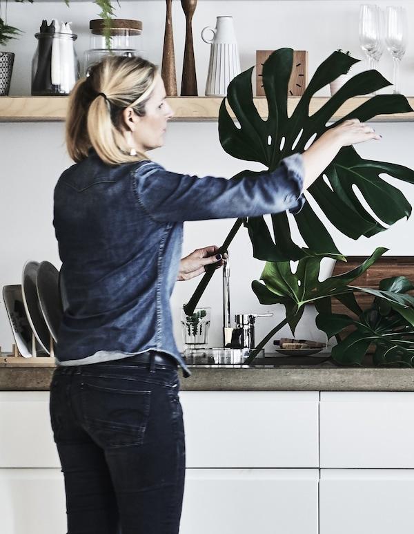 Jules, creative director in her kitchen, preparing a flower arrangement.