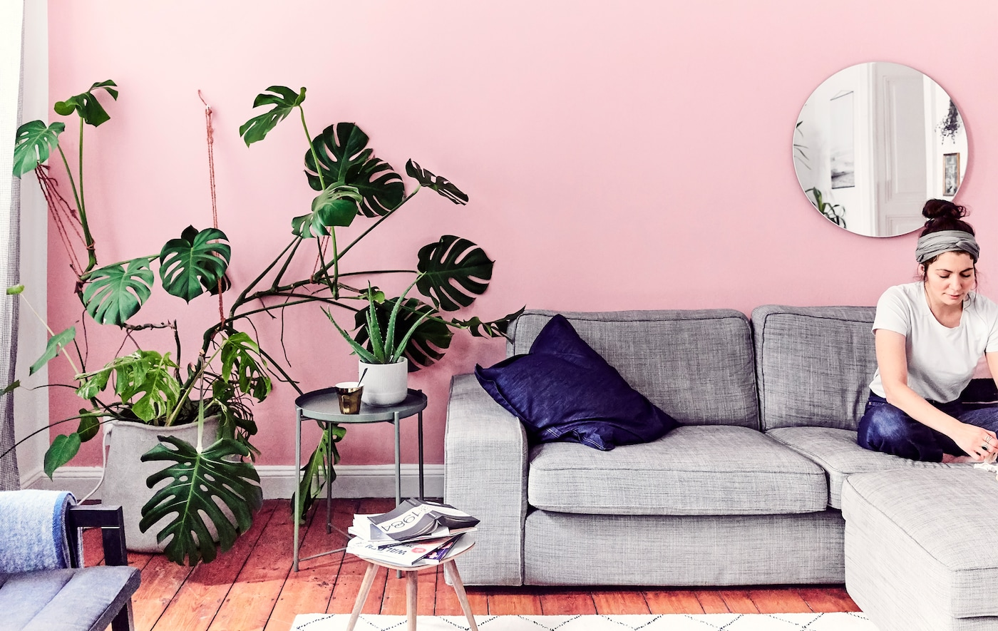 Julia sitting on a gray sofa in a living room with a pink wall and large monstera plant.