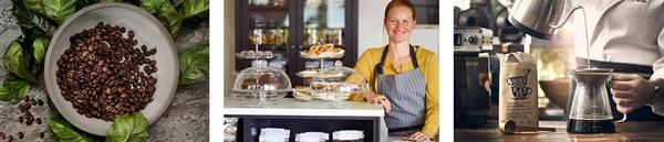 Kaffeebohnen, Cafébar mit Etagèren und einer freundlichen IKEA Mitarbeiterin und Tee wird aufgegossen