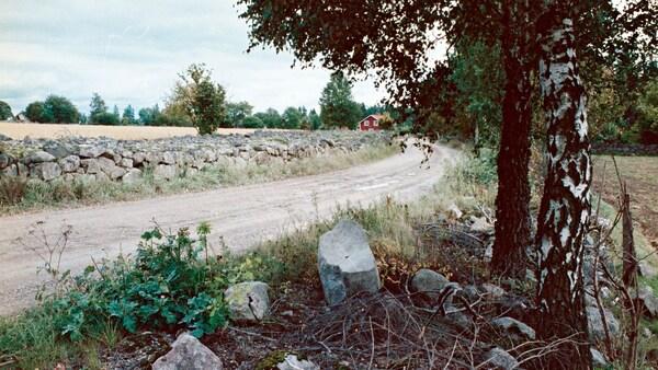 Kamenná zeď za štěrkovou cestou, červená chalupa na konci cesty