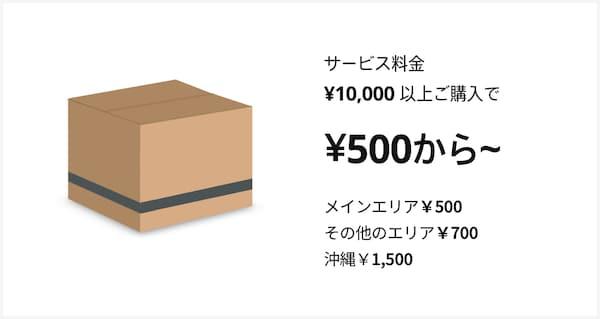 店舗から配送の場合、小物配送サービス料金は、メインエリアからなら ¥990、その他のエリアは¥1,290。沖縄他離島からは¥3,000