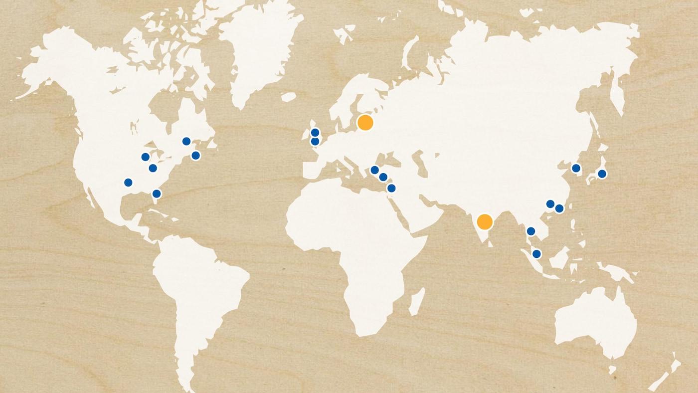 Карта, на которой отмечены освоенные нами рынки, расширение и предстоящие запуски по всему миру в2018году.