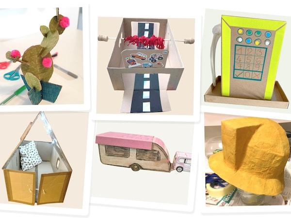 Kartonové modely vyrobené dětmi spolupracovníků KEA.