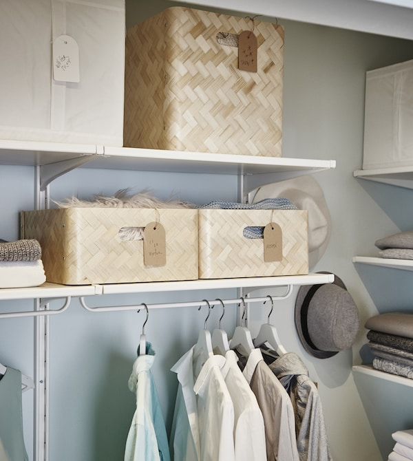 Keep the seasonal items you use less often in boxes on higher shelving.