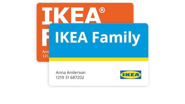 Két IKEA Family műanyag kártya.