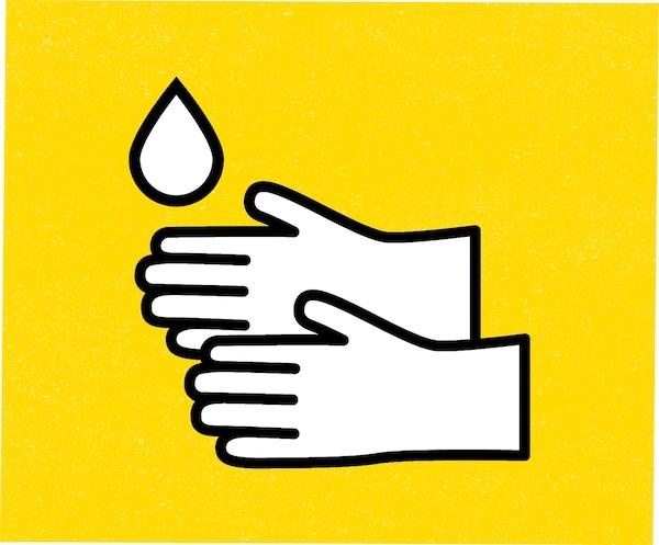 Kézmosást ábrázoltó rajz, két kéz és egy vízcsepp.
