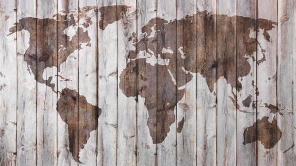 خريطة العالم على خائط خشبي، دلالة على أن ايكيا علامة تجارية عالمية وأن الكثير من منتجاتها مصنوع من الخشب.