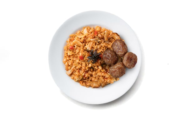 Kimchi fried rice with Meatballs