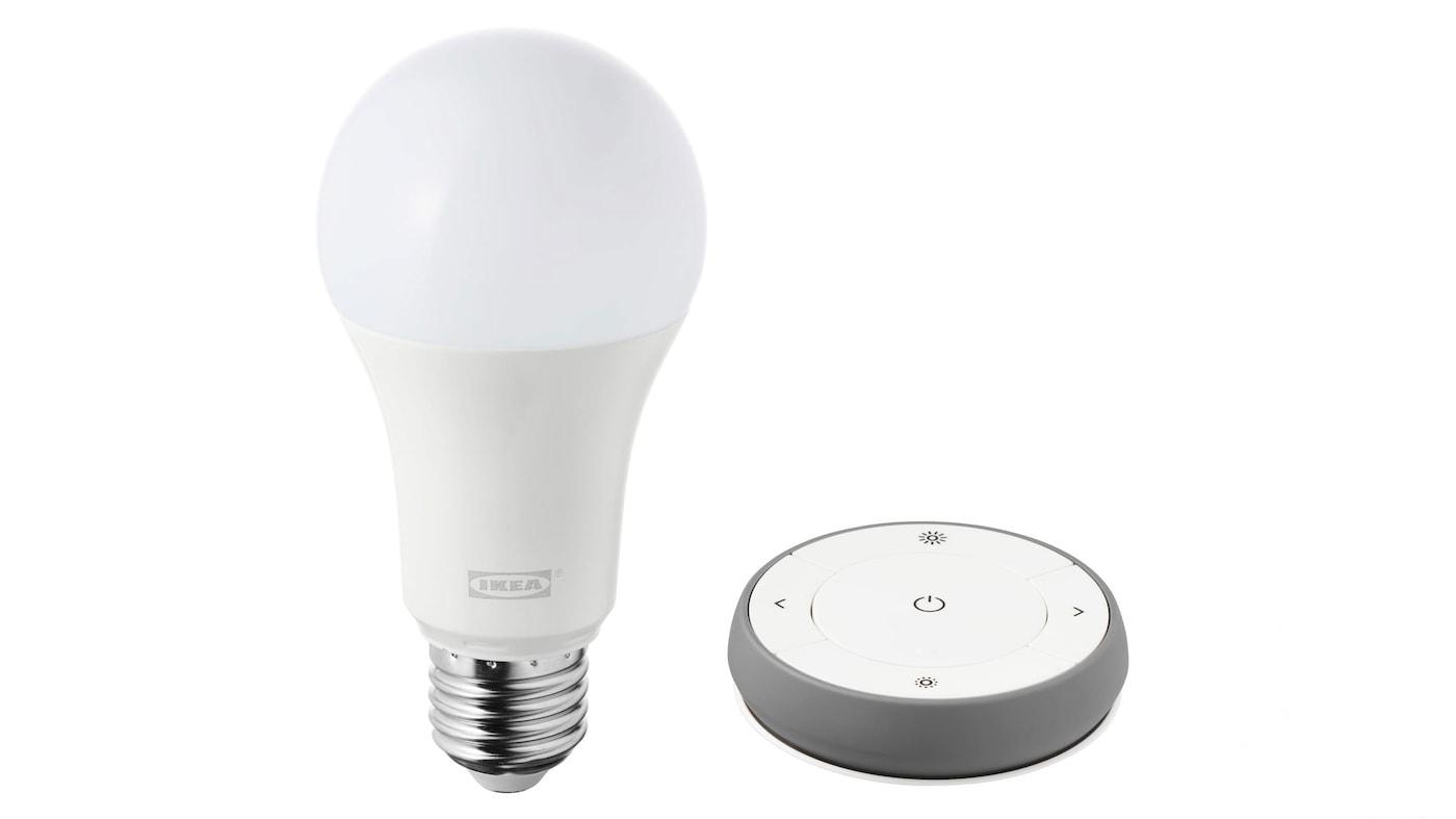 Kit variateur TRÅDFRI nuances de blancs, avec ampoule LED et télécommande.