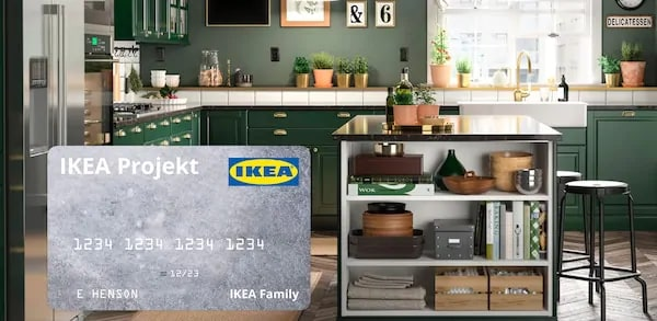 Kitchen and image of the IKEA Projekt card