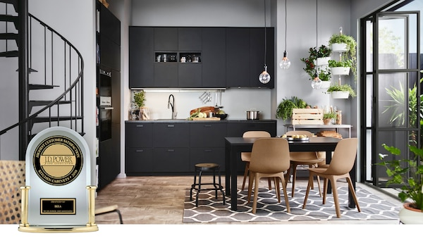 Kitchen with SEKTION cabinet frames and anthracite KUNGSBACKA cabinet doors/drawer fronts