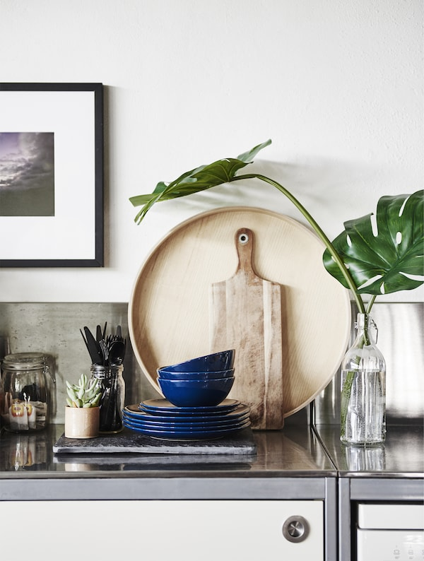 Kitchenware and plants on a metal worktop.