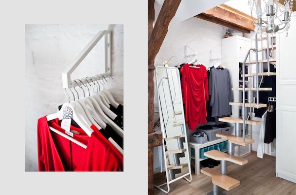 Kleidung und Accessoires hinter einer Treppe