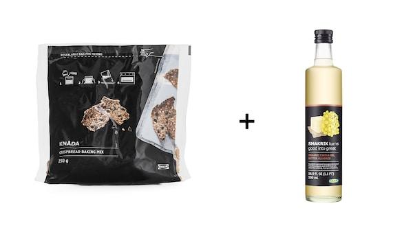 KNÅDA Kenyérkeverék kétszersülthöz, 250 gr + SMAKRIK Repceolaj, vajas ízű bio, 500 ml