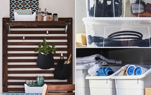 Kolaż trzech różnych sposobów na przechowywanie na balkonie.