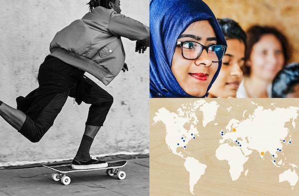 Колаж із зображень: чоловік на скейтборді, 3 співробітники та карта світу, що показує, з ким ми співпрацювали у 2018 році.