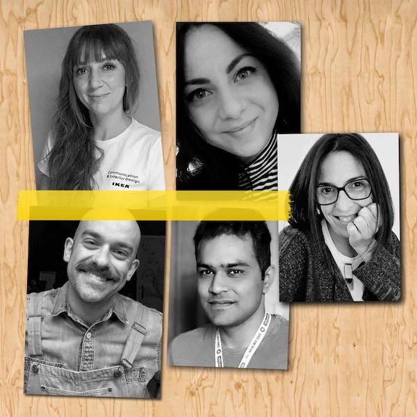 Kollaasi, jossa viisi mustavalkoista kasvokuvaa IKEA-työntekijöistä.