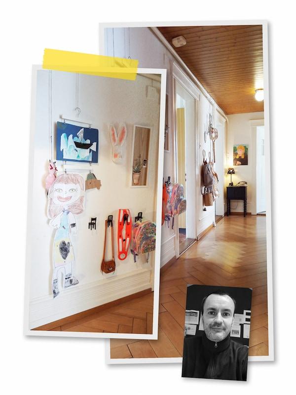 Kolmen kuvan kollaasi: Isoissa kuvissa eteiskäytävän seinille on ripustettu erilaisia piirroksia ja maalauksia. Pikkukuvassa mustavalkoinen kasvokuva IKEA-työntekijästä.