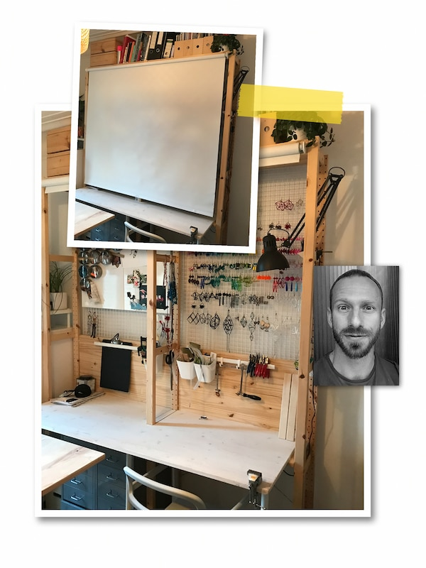 Kolmen kuvan kollaasi: Kahdessa kuvassa IVAR-järjestelmästä koottu työpiste, jonka eteen voi vetää FRIDANS-rullaverhon. Pienessä kuvassa mustavalkoinen kasvokuva IKEA-työntekijästä.