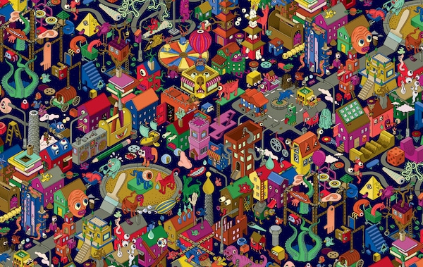 Kolorowy rysunek miasta fantasy.