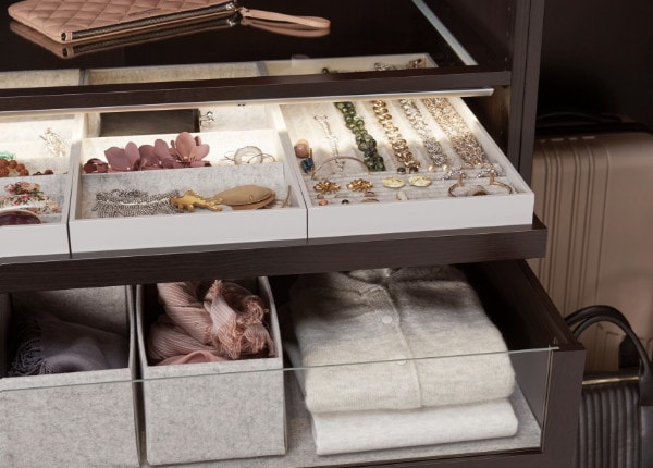 KOMPLEMENT Drawer with glass front, black-brown