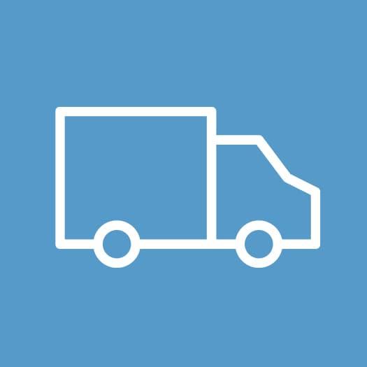 Konturerna av en vit lastbil mot blå bakgrund