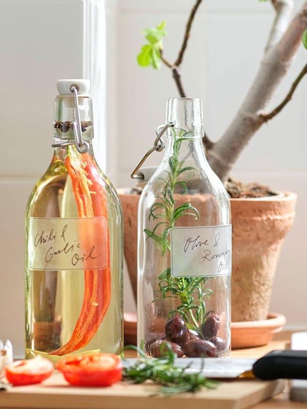KORKEN bottles filled with infused cooking oils