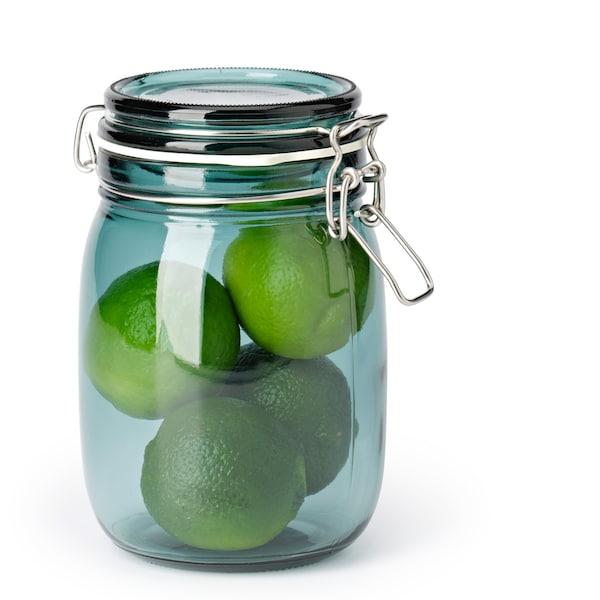 KORKEN Üvegedény+tető, zöld, 1 l.