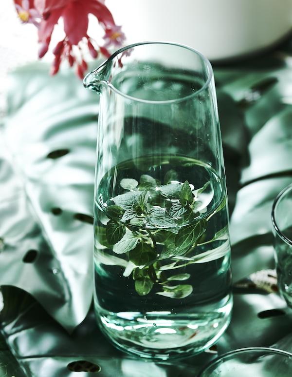 Kräuter und Wasser in einer INTAGANDE Karaffe 1 L hellgrün, die auf Blättern steht.