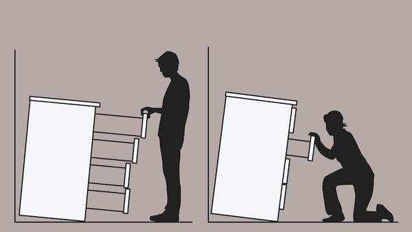 Kresba dvou komod, které nejsou připevněné ke stěně, a padají na muže a ženu.