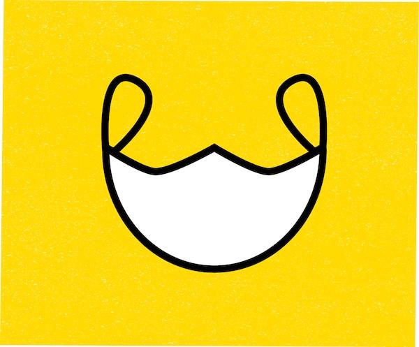 Kresba masky na žlutém podkladu.