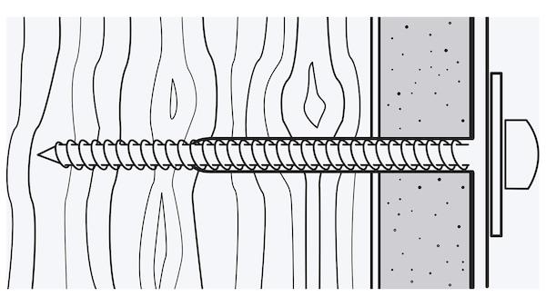 Kresba skrutky, ktorá je zaskrutkovaná do dreva a prechádza cez materiál, ako je sadrokartón.