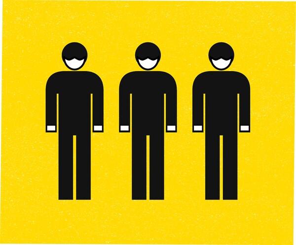 Kresba tří lidí s maskou a rukavice na žlutém podkladu.