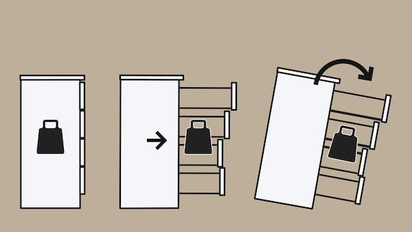 Kresba ukazuje, jak se těžiště nepřipevněné komody přesouvá a komoda se převrací.