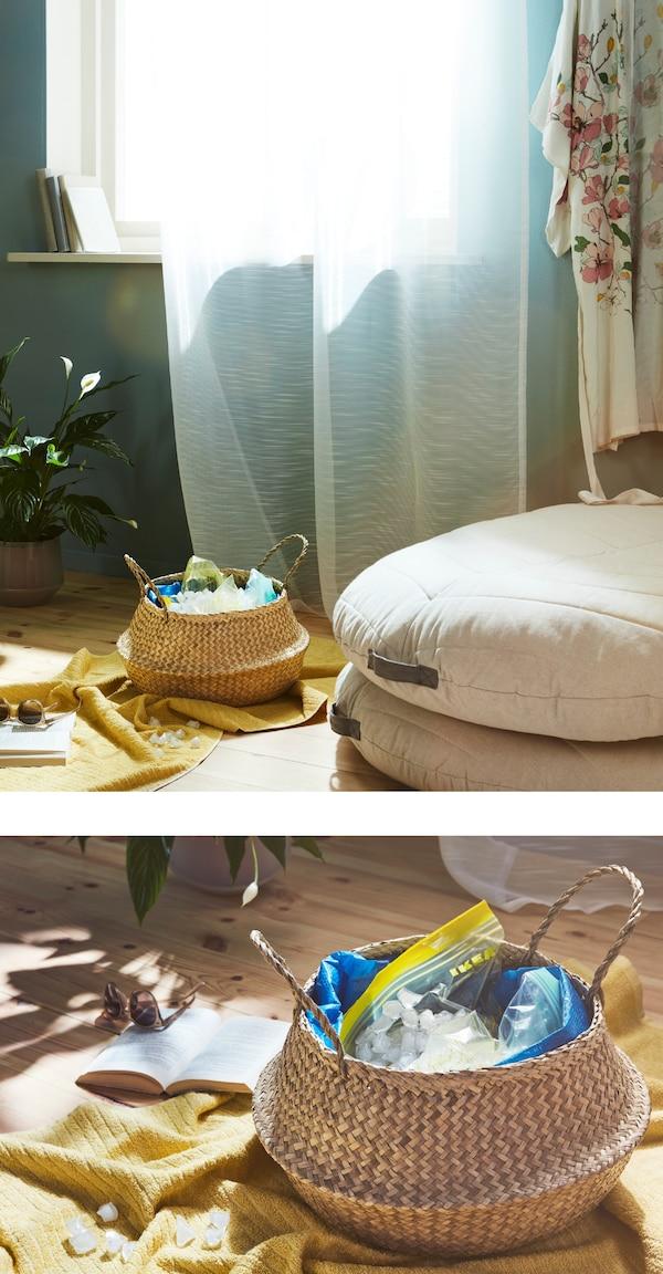 Kühle dich mit einem eiskalten Fußbad ab! Das kannst du z. B. auslaufsicher in IKEA FLÅDIS Faltkorb aus Seegras mit Eiswürfeln in einem wasserdichten Beutel gestalten!