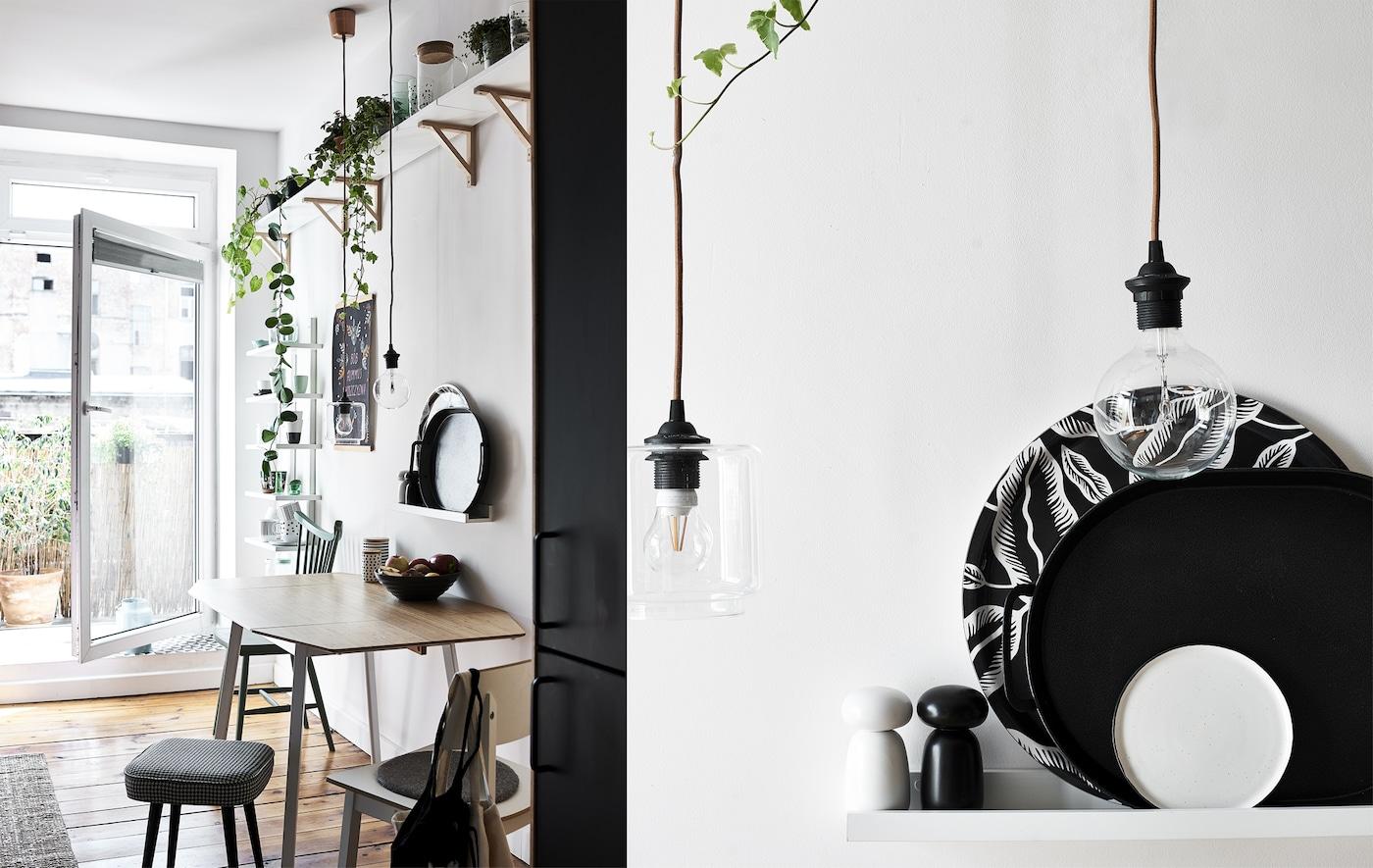 Kuhinjski stol s biljkama na polici iznad i uvećani prikaz monokromatskih pladnjeva na polici i žarulja sa žarnom niti.