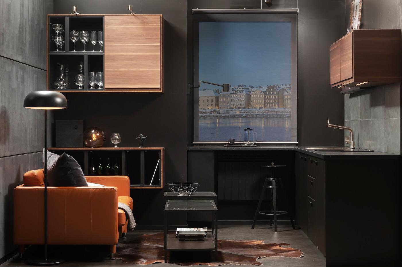 Кухня для холостяка в стиле лофт