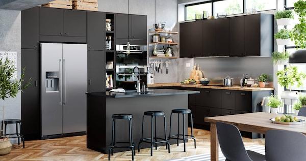 KUNGSBACKA modern style kitchen in a dark grey color.