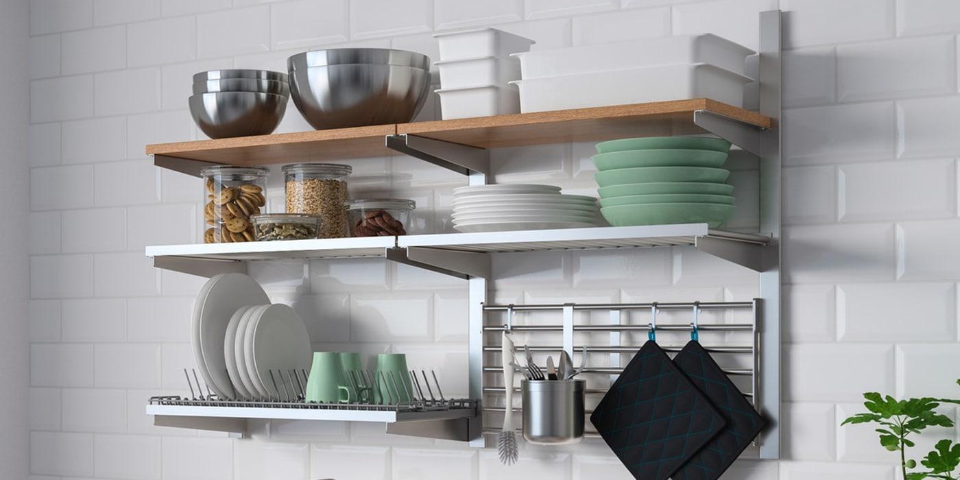 KUNGSFORS Wandregalssystem mit Aufhängeschienen - intelligente, offene Aufbewahrung in der Küche