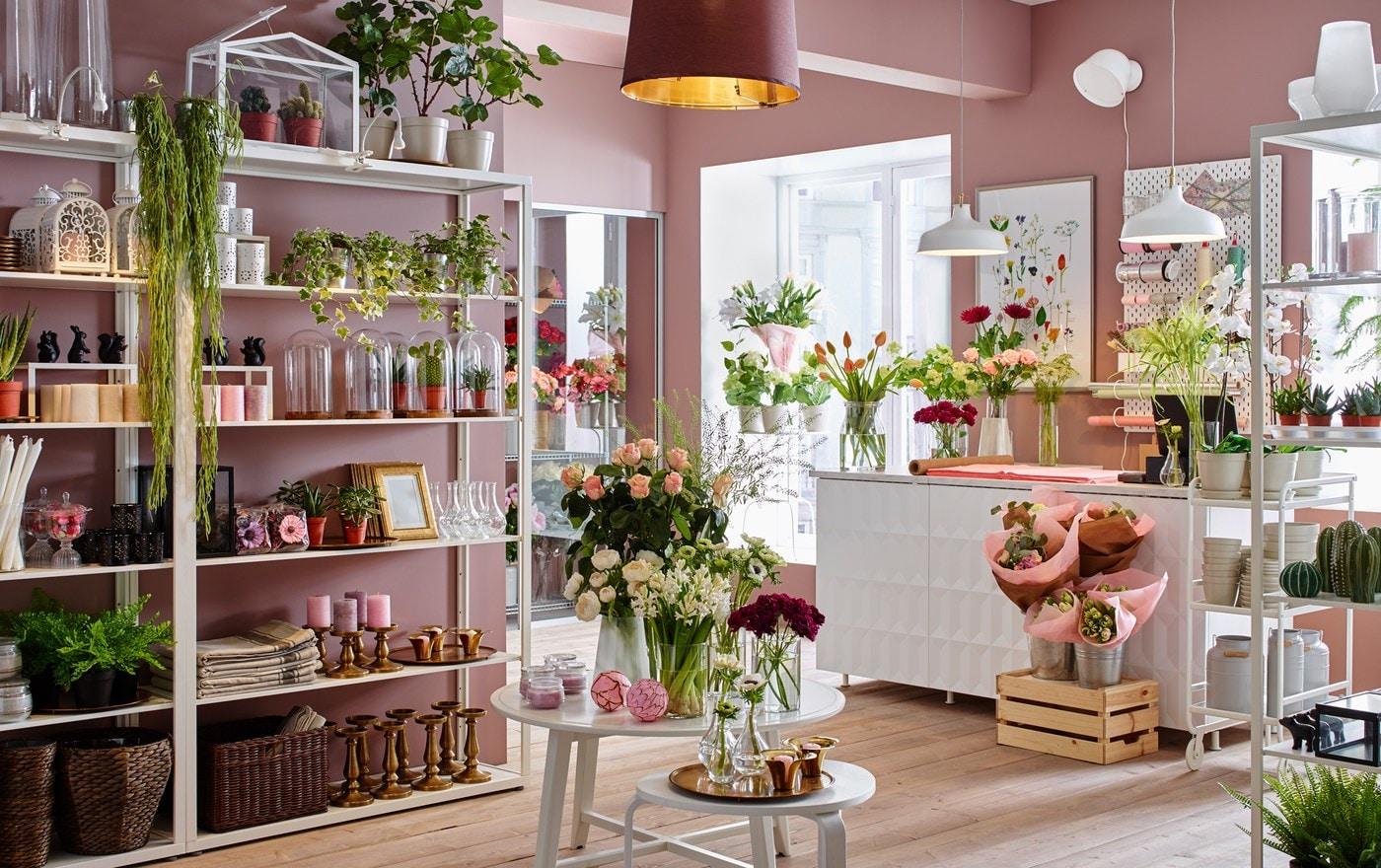 Kvetinárstvo s ružovými stenami a bielymi nástennými policovými dielmi IKEA FJÄLKINGE s vystavenými kvetmi a vázami.